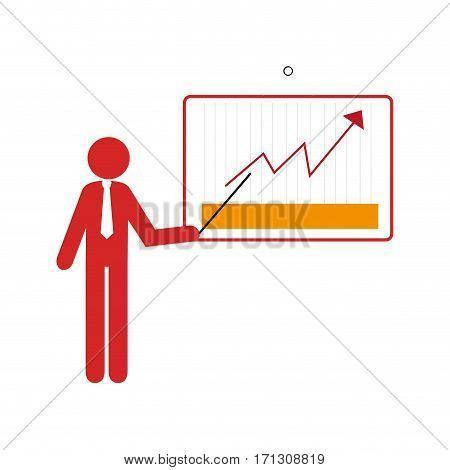 colorful silhouette executive man with graphics of arrow line vector illustration
