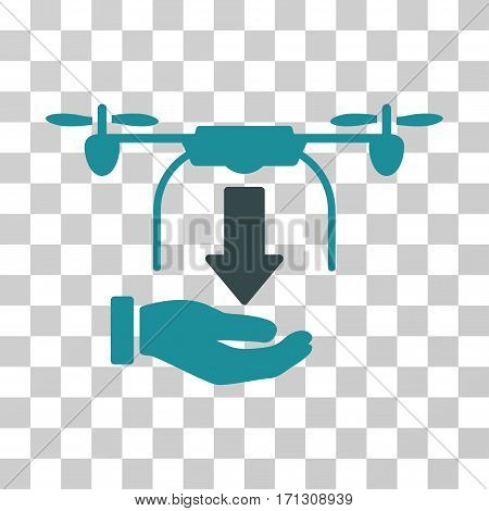 Unload Drone Hand icon. Vector illustration style is flat iconic bicolor symbol soft blue colors transparent background. Designed for web and software interfaces.