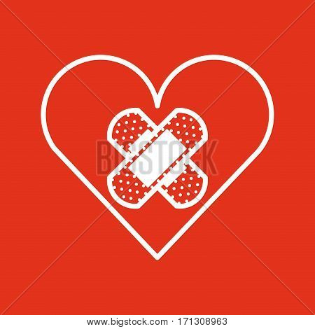 heart with adhesive bandage over red background. donation blood concept. colorful design. vector illustration