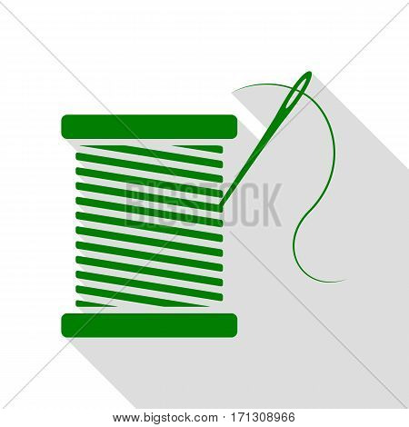 Thread with needle sign illustration. Green icon with flat style shadow path.