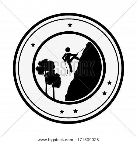 circular border with silhouette lanscape and rock-climber vector illustration