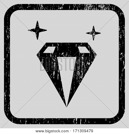Sparkle Diamond Crystal rubber watermark. Vector pictogram symbol inside rounded rectangular frame with grunge design and dirty texture. Stamp seal illustration.