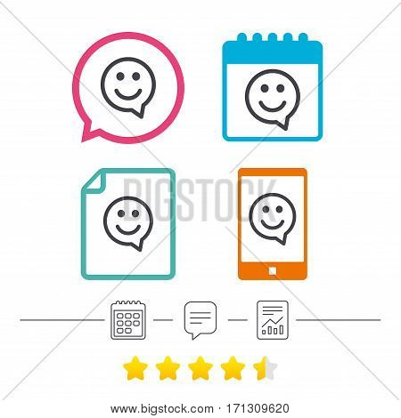 Happy face chat speech bubble symbol. Smile icon. Calendar, chat speech bubble and report linear icons. Star vote ranking. Vector