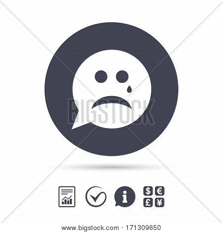 Sad face with tear sign icon. Crying chat symbol. Speech bubble. Report document, information and check tick icons. Currency exchange. Vector