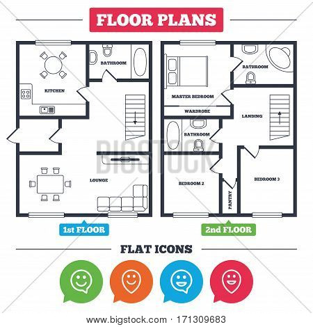 Architecture plan with furniture. House floor plan. Happy face speech bubble icons. Smile sign. Map pointer symbols. Kitchen, lounge and bathroom. Vector