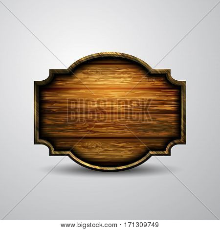 Vector realistic illustration of wooden signboard isolated on white