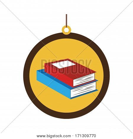 circular border with colorful pair of books vector illustration