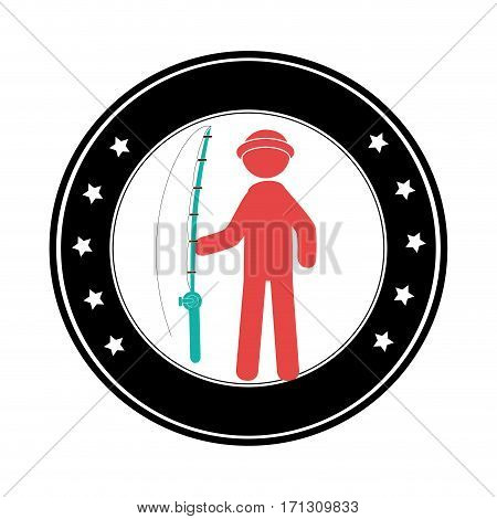 circular border with silhouette Fisherman with fishing rod vector illustration