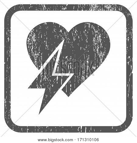 Heart Shock rubber watermark. Vector pictogram symbol inside rounded rectangular frame with grunge design and unclean texture. Stamp seal illustration. Unclean gray ink emblem on a white background.