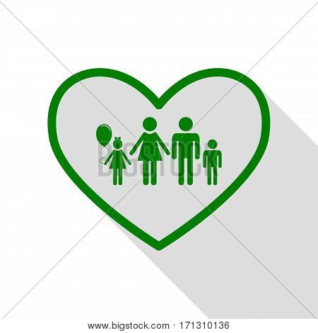 Family sign illustration in heart shape. Green icon with flat style shadow path.
