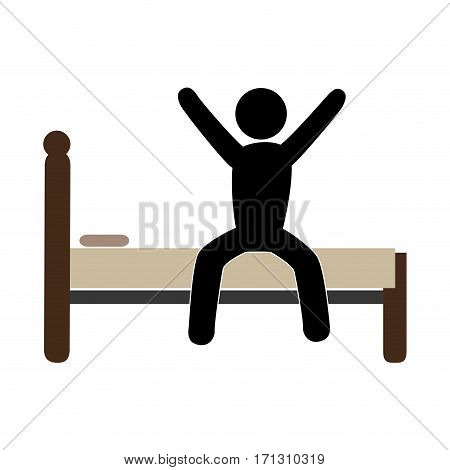 color pictogram with man in bed awake vector illustration