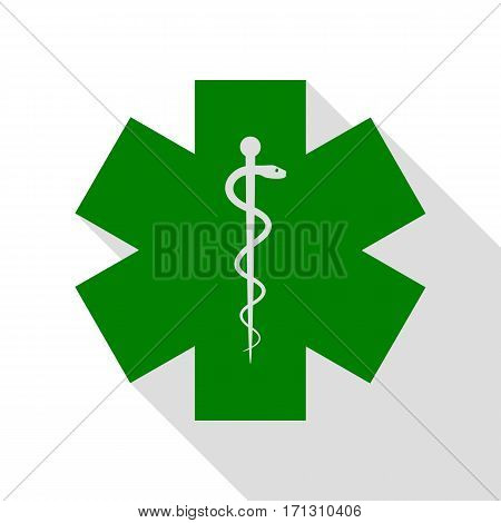 Medical symbol of the Emergency or Star of Life. Green icon with flat style shadow path.