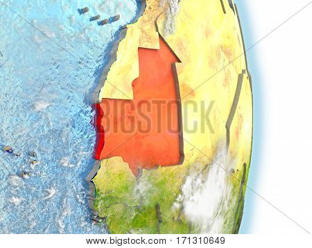 Mauritania In Red On Earth