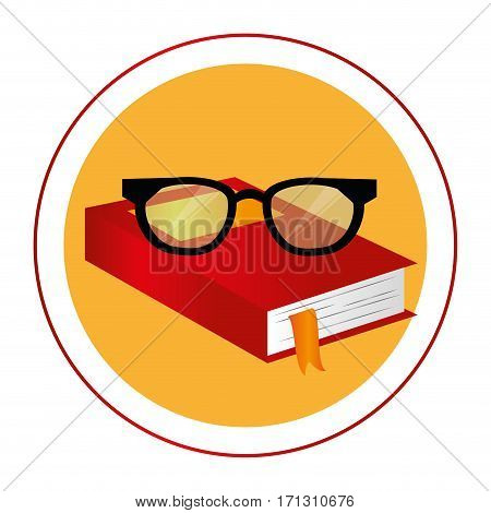 color circular frame with book and glasses vector illustration