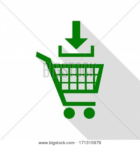 Add to Shopping cart sign. Green icon with flat style shadow path.