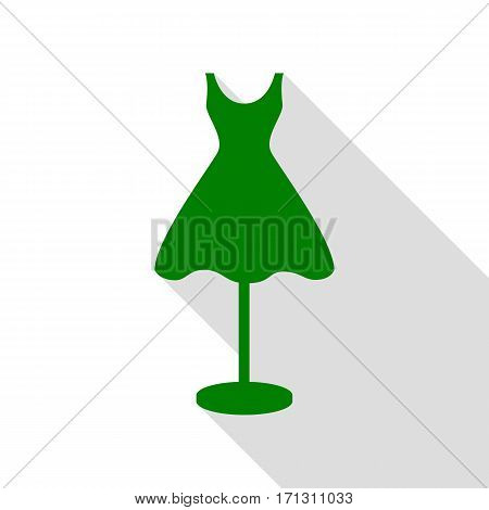 Mannequin with dress sign. Green icon with flat style shadow path.