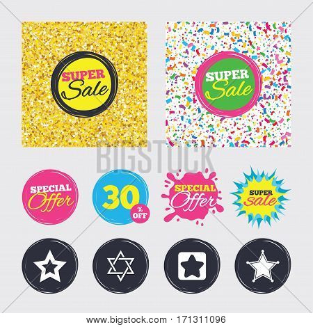 Gold glitter and confetti backgrounds. Covers, posters and flyers design. Star of David icons. Sheriff police sign. Symbol of Israel. Sale banners. Special offer splash. Vector