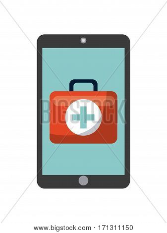 smartphone with first aid briefcase icon over white background. vector illustration
