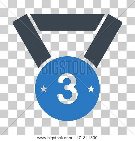 Third Medal icon. Vector illustration style is flat iconic bicolor symbol smooth blue colors transparent background. Designed for web and software interfaces.