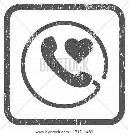 Love Phone rubber watermark. Vector pictogram symbol inside rounded rectangular frame with grunge design and dirty texture. Stamp seal illustration. Unclean gray ink sticker on a white background.