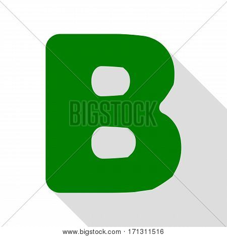Letter B sign design template element. Green icon with flat style shadow path.