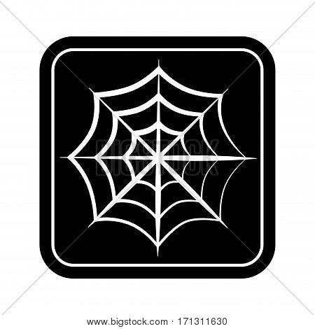 monochrome square silhouette with spiderweb vector illustration