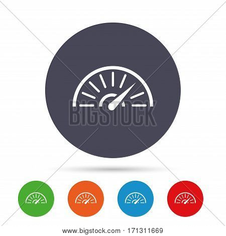Tachometer sign icon. Revolution-counter symbol. Car speedometer performance. Round colourful buttons with flat icons. Vector