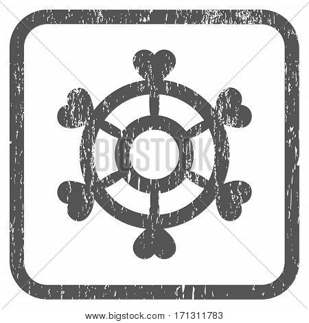 Lovely Boat Steering Wheel rubber watermark. Vector icon symbol inside rounded rectangular frame with grunge design and dirty texture. Stamp seal illustration.
