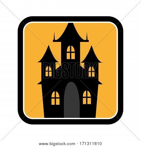 square frame of halloween with scary casttle vector illustration