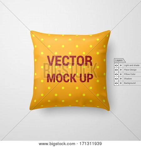 Mock Up of a Yellow Pillow Isolated on White Background