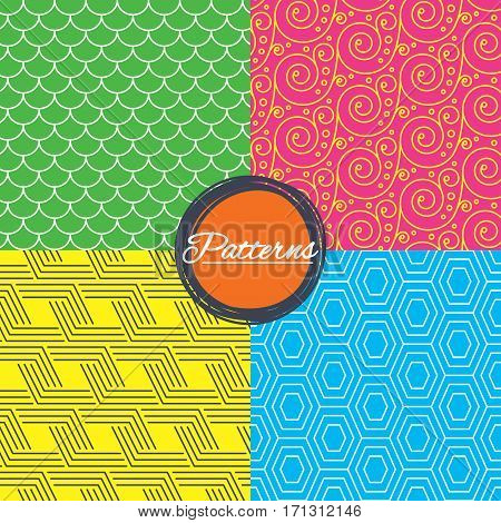 Floral ornament, roof tiles and hex seamless textures. Linear geometric patterns. Modern textures. Abstract patterns with colored background. Vector