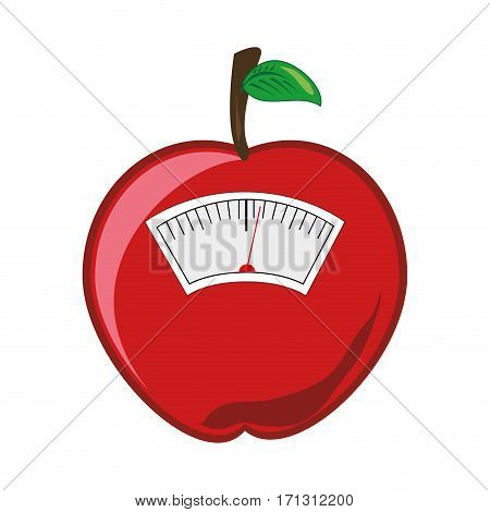 color silhouette with scales for weight control in shape of apple vector illustration