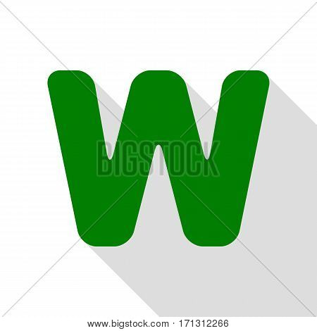 Letter W sign design template element. Green icon with flat style shadow path.