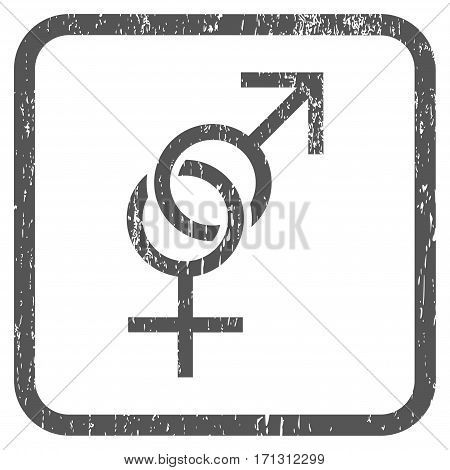 Sex Symbol rubber watermark. Vector pictogram symbol inside rounded rectangle with grunge design and dirty texture. Stamp seal illustration. Unclean gray ink sign on a white background.