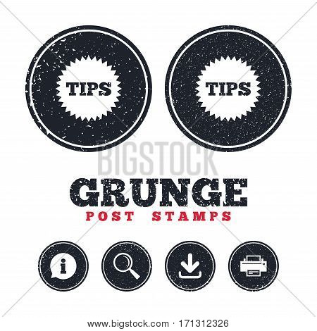 Grunge post stamps. Tips sign icon. Star symbol. Service money. Information, download and printer signs. Aged texture web buttons. Vector