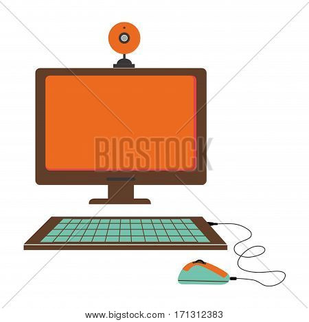 silhouette color with desktop computer and webcam vector illustration