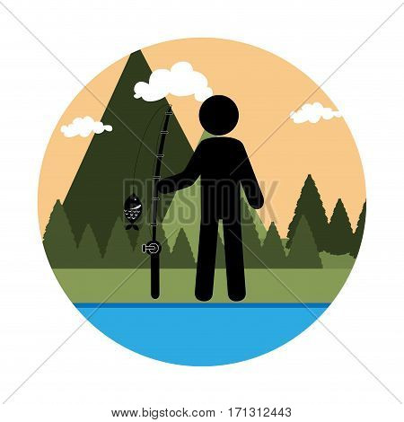 colorful circular landscape with man fishing vector illustration