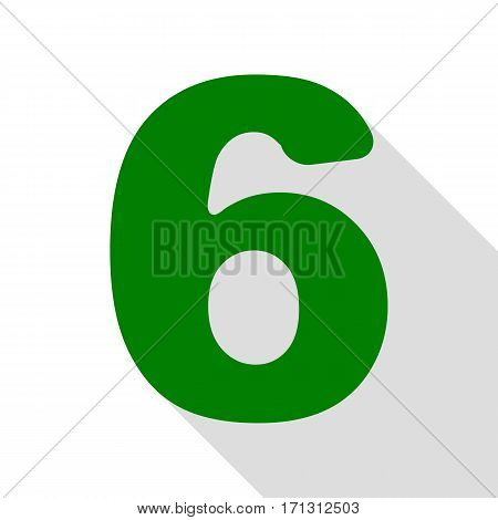 Number 6 sign design template element. Green icon with flat style shadow path.