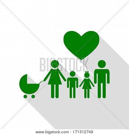 Family sign with heart. Husband and wife are kept children's hands. Green icon with flat style shadow path.