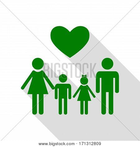Family symbol with heart. Husband and wife are kept children's hands. Green icon with flat style shadow path.