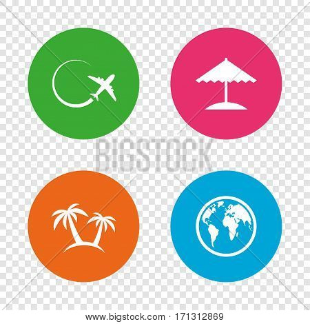 Travel trip icon. Airplane, world globe symbols. Palm tree and Beach umbrella signs. Round buttons on transparent background. Vector