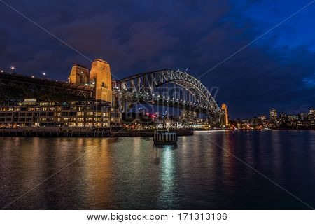Sydney Harbour at night viewed from Milsons Point in North Sydney Australia. FEB 15,2017 Sydney Harbour is a beautiful meandering waterway, famous around the world.
