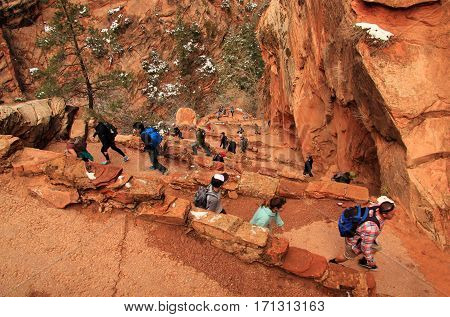 ZION NATIONAL PARK, UT - MARCH 30: Hikers make their way along Walter's Wiggles, a series of sharp switchbacks along the West Rim Trail March 30, 2016 in Zion National Park, UT.