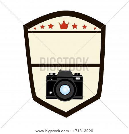 emblem shape shield with analog camera vector illustration