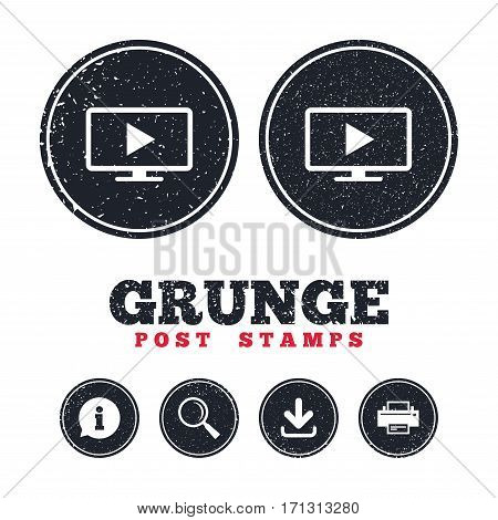 Grunge post stamps. Widescreen TV mode sign icon. Television set symbol. Information, download and printer signs. Aged texture web buttons. Vector