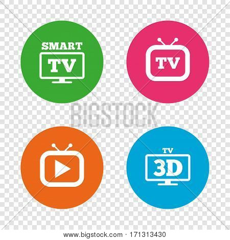 Smart 3D TV mode icon. Widescreen symbol. Retro television and TV table signs. Round buttons on transparent background. Vector