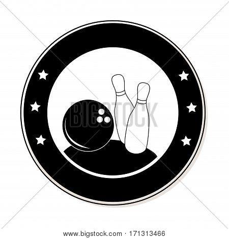 circular frame with bowling pins and ball vector illustration
