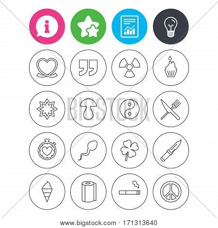 Information, light bulb and report signs. Universal icons. Quotes, ribbon heart and cake. Clover, mushroom and ice cream. Smoking, knife and fork. Favorite star symbol. Flat buttons. Vector