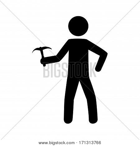 monochrome pictogram with climbing man with ice axe vector illustration