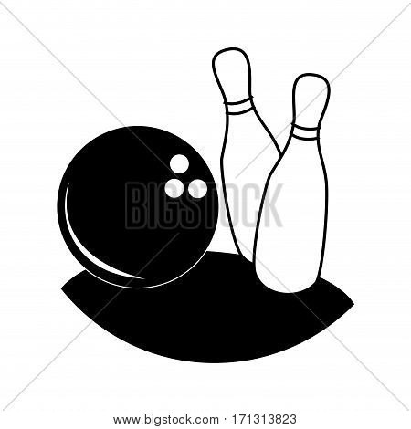 monochrome silhouette with bowling pins and ball vector illustration
